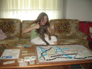 Even the dog loves Ticket to Ride. Look at how happy she is.