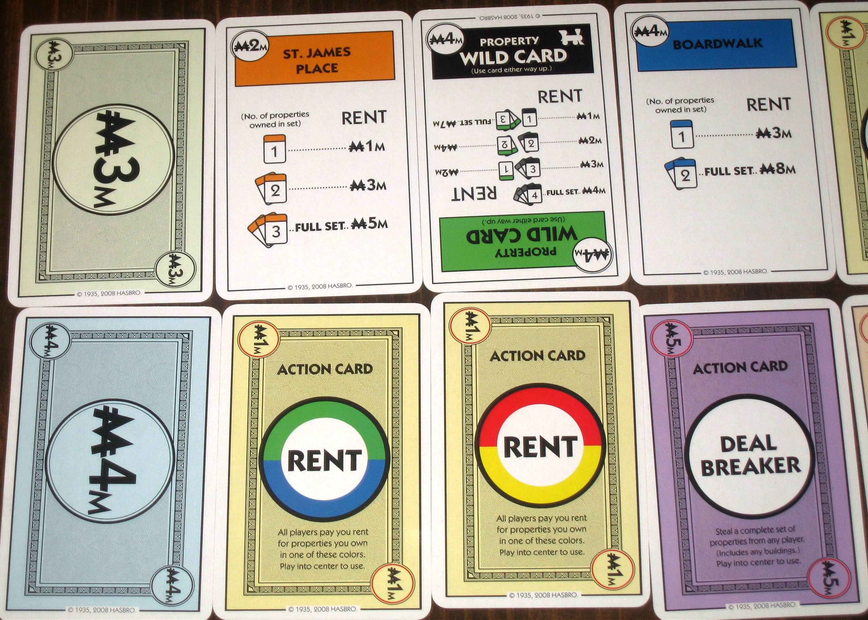Game board colors - Monopoly Deal Action Cards