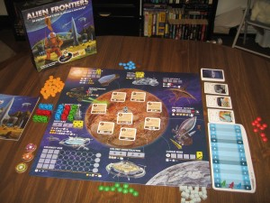 Alien Frontiers: Three Player Variant, Long Game Setup.