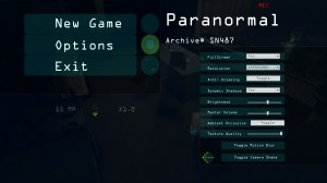 Paranormal Options Menu