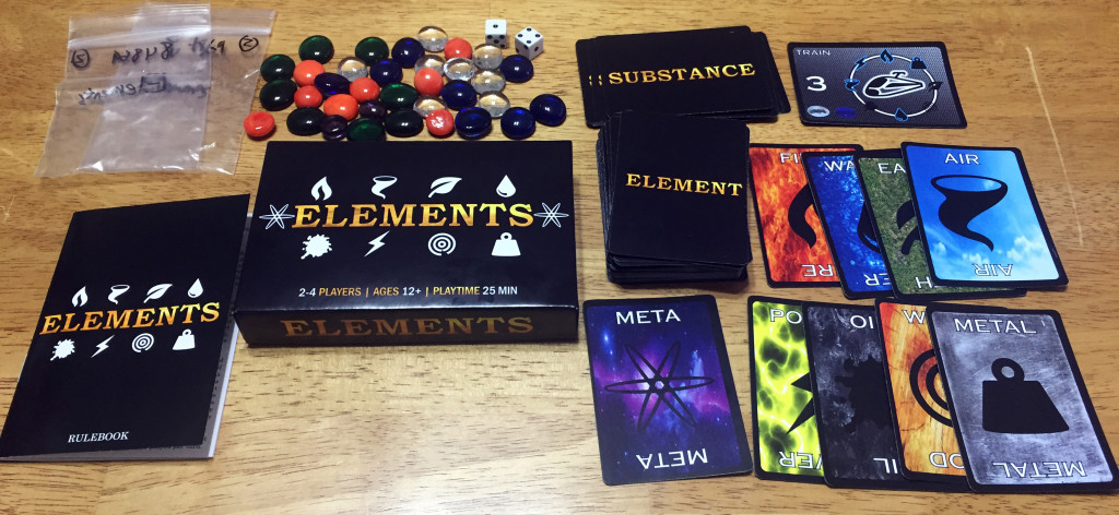 Elements: 2-4 Players, Ages 8+, Average Play Time = 20 Minutes